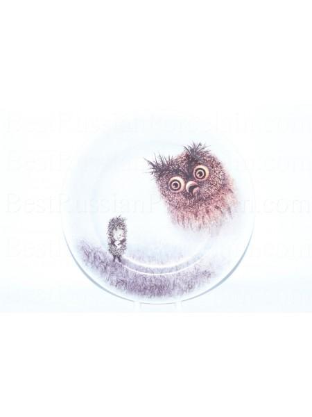 Декоративная тарелка рис. Ёжик и сова, ф. Европейская