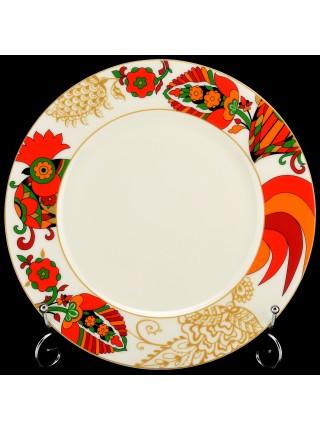 Обеденная тарелка рис. Красный петушок 2  270 мм, ф. Европейская-2