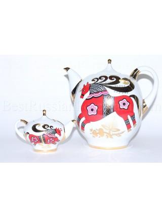 Комплект чайников рис. Красный Конь, ф.Новгородский
