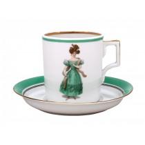 Чашка с блюдцем рис. Modes de Paris 1830, форма Гербовая