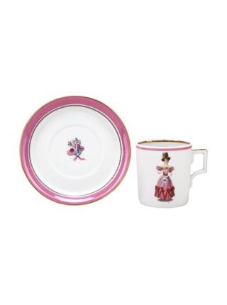 Чашка с блюдцем рис. Modes de Paris 1828, форма Гербовая