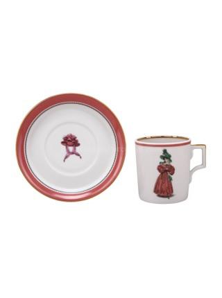 Чашка с блюдцем рис. Modes de Paris 1827, форма Гербовая