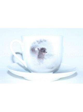 Чашка с блюдцем рис. Ёжик в тумане (Лошадь), форма Ландыш