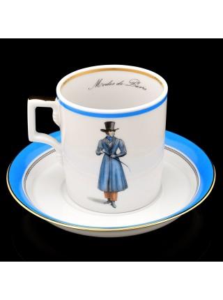 Чашка с блюдцем рис. Modes de Paris 1820, форма Гербовая