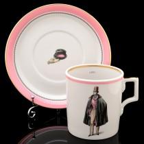 Чашка с блюдцем рис. Modes de Paris 1840, форма Гербовая