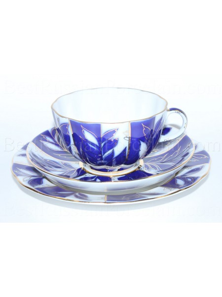 Комплект чашка с блюдцем и десертной тарелкой рис. Зимний вечер, ф. Тюльпан