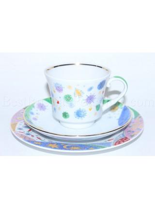 Комплект чашка с блюдцем и десертной тарелкой рис. Карнавал, форма Банкетная