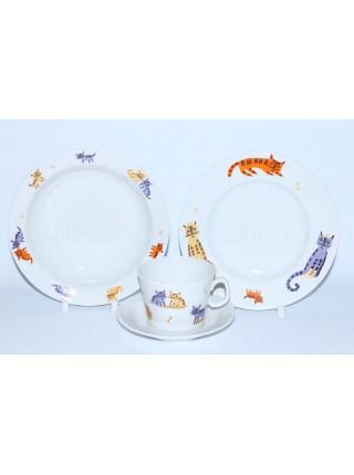 Комплект чашка с блюдцем и две тарелки рис. Коты, ф. Молодежная