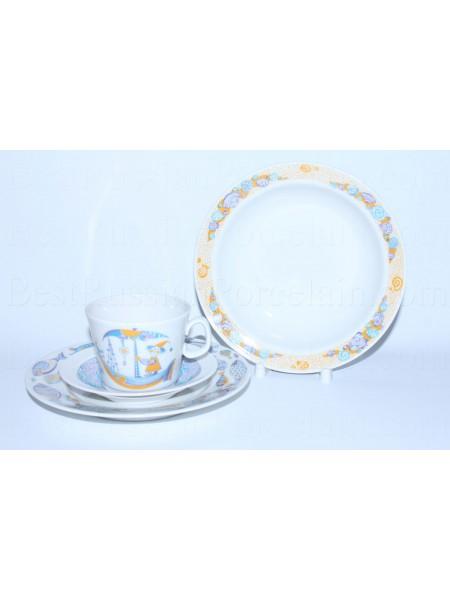 Комплект чашка с блюдцем и две тарелки рис. Морские путешествия, ф. Молодежная