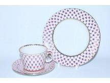 Комплект чашка с блюдцем и десертной тарелкой рис. Сетка-Блюз, ф. Молодёжная