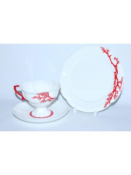 Комплект рис. Коралл: чашка с блюдцем и десертной тарелкой, форма Наташа