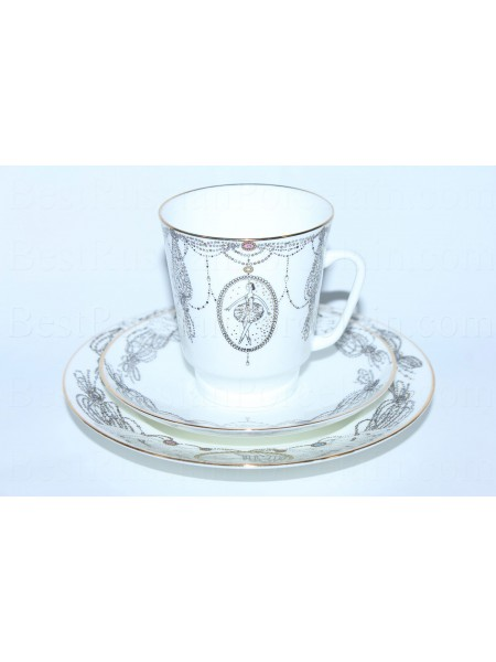 Комплект чашка с блюдцем и десертной тарелкой рис. Балет Лебединое озеро, ф. Майская