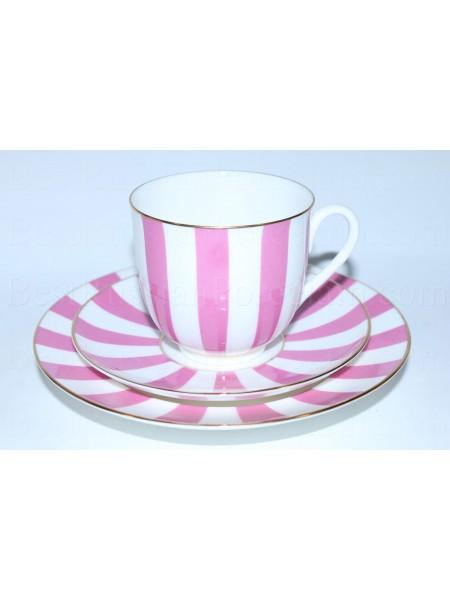 Комплект рис. Да и нет (розовый): чашка с блюдцем и тарелка, форма Ландыш