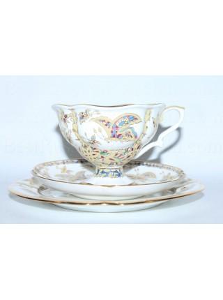 Комплект рис. Фантастические бабочки: чашка с блюдцем и десертной тарелкой, форма Наташа