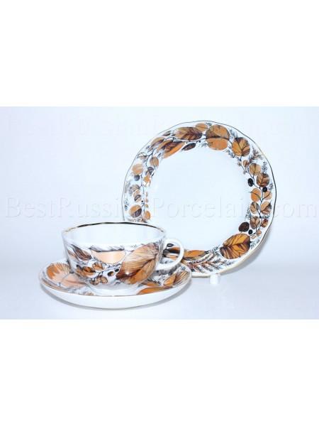 Комплект чашка с блюдцем и десертной тарелкой рис. Мой Сад, ф. Тюльпан