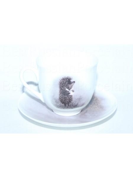 Чашка с блюдцем рис. Ёжик в тумане (Сова), форма Ландыш