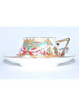 Чашка с блюдцем рис. Сказочные птицы, форма Билибина 1