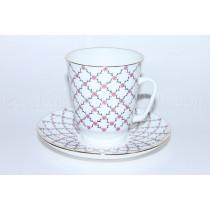 Чашка с блюдцем рис. Розовая сетка, форма Майская