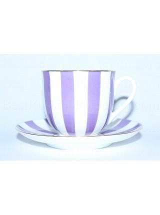 Чашка с блюдцем рис. Да и нет (фиолетовый) форма Ландыш