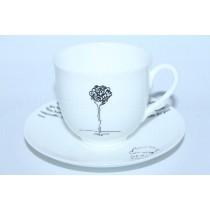 Чашка с блюдцем рис. Маленький Принц Роза (Английская версия), форма Ландыш