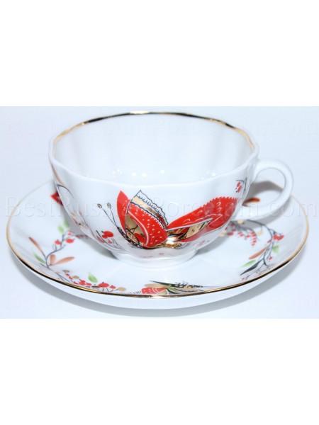 Чашка с блюдцем рис. Бабочки, ф. Тюльпан