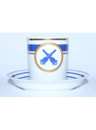 Чашка с блюдцем рис. Кают-компания 6, Артиллерист, форма Гербовая